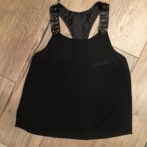 Black leather studded blouse